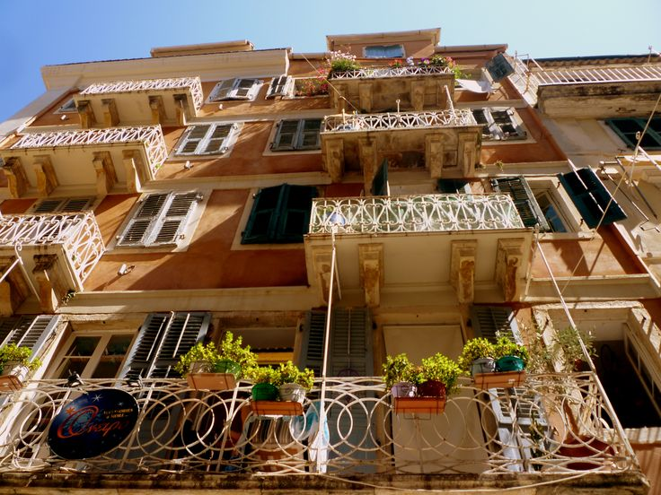 balconies in Corfu