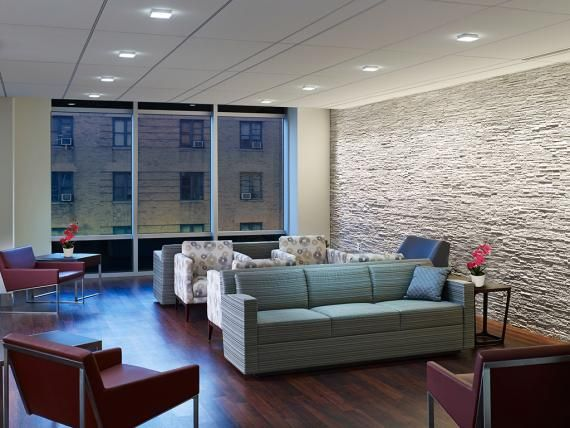 Contemporary spaces on each level of Beth Israel Medical Center (NY) are provided for patient waiting and include a mix of sociopetal seating.