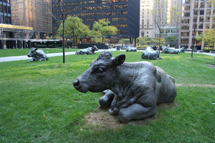 Joe Fafard (Canada), The Pasture, 1985 -downtown Toronto -site specific -Located in the heart of the Financial District, Fafard's cows are a reminder of Toronto's agricultural origins -the seven life-sized bronze cows are complacent, chewing cud on the grass -Adding some rural flare to the downtown core, the cows are meant to represent the importance that the hinterland plays to the city (and vice versa)