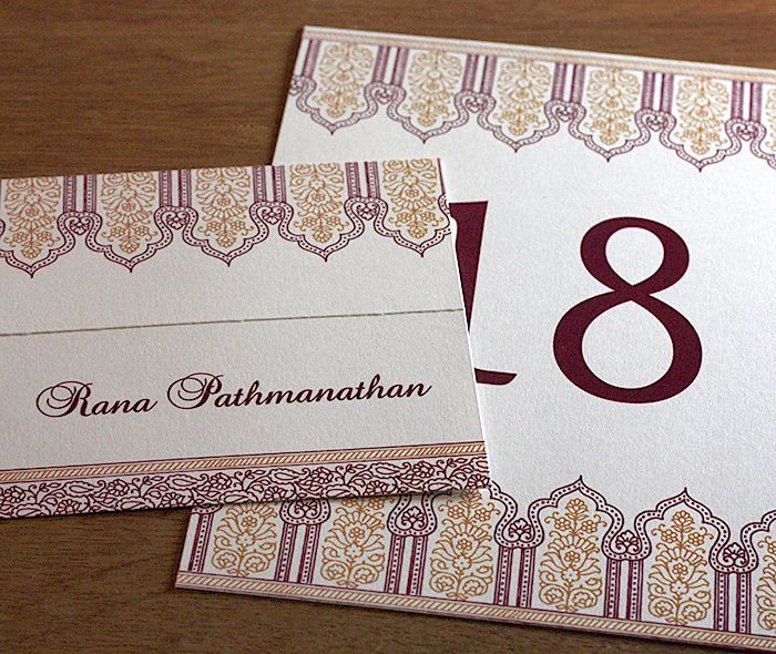 Formal Indian wedding place card and table number.  | Invitations by Ajalon | invitationsbyajalon.com