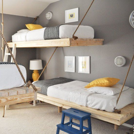 Three boys one room no problem check out this room with for Suspended beds for kids