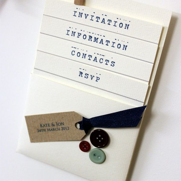 'Buttons' pocket Invitation.