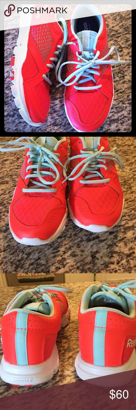 Reebox MemoryTech cross training shoes Bright Orange, lite blue, worn once, perfect condition Reebok Shoes Athletic Shoes