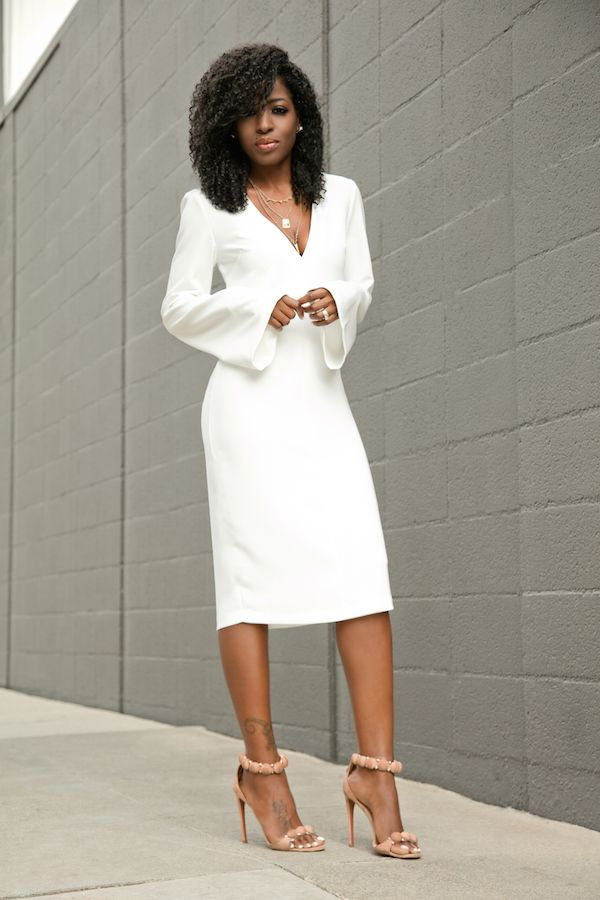 White Bell Sleeves Midi Dress  Outfit Details:Dress: Available here | Shoes: In black here or berry thereFashion By Style Pantry