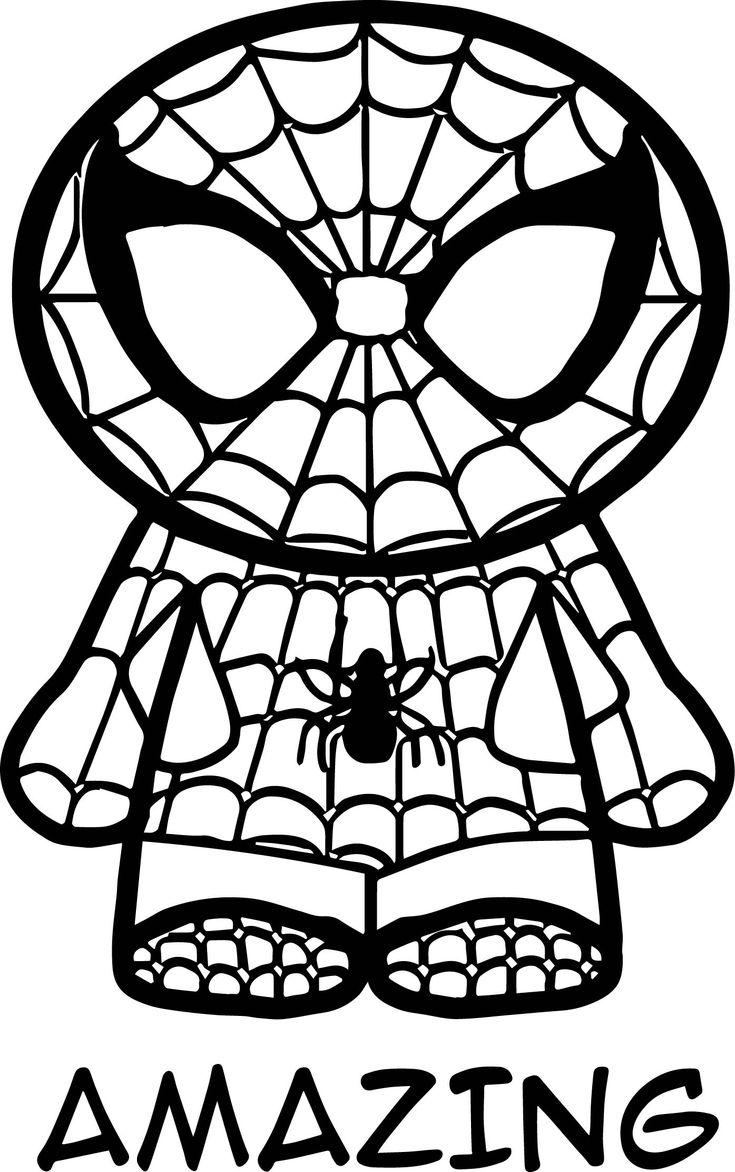 Awesome Amazing Chibi Spider Man Coloring Page Spiderman