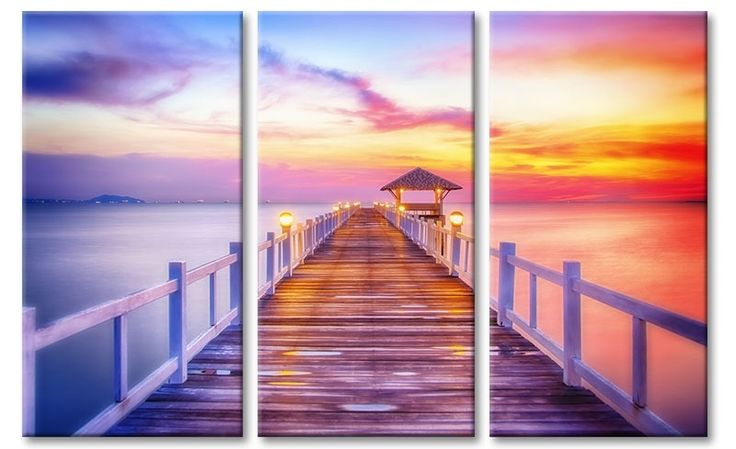 Drieluik canvas schilderij steiger in tropische baai tijdens zonsondergang.