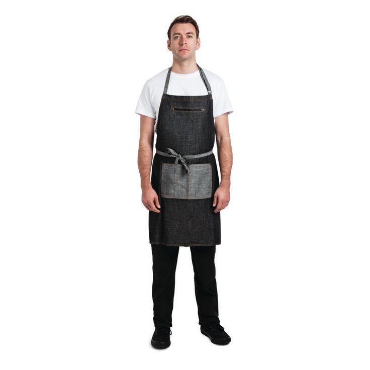 Delantal negro con peto modelo Manhattan Chef Works