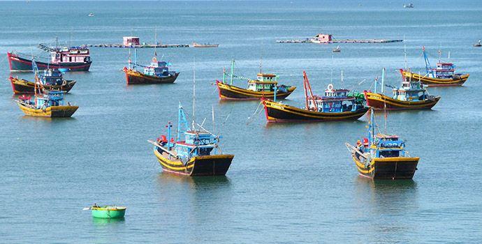 Mui Ne Hafen und Fischerboote