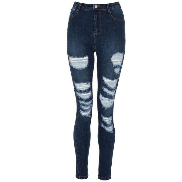 Dark Blue Ripped Skinny Jeans ($38) ❤ liked on Polyvore featuring
