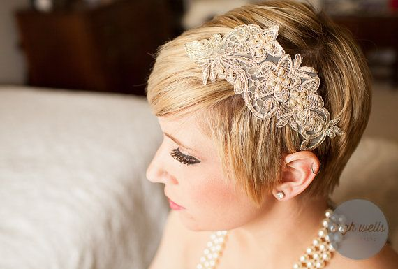 Custom! Choose your style: Bridal clip, bridal headband, or bridal garter in gold lace applique and pearls vintage style, bohemian style. Custom orders by: Lavender Rose Accessories $25