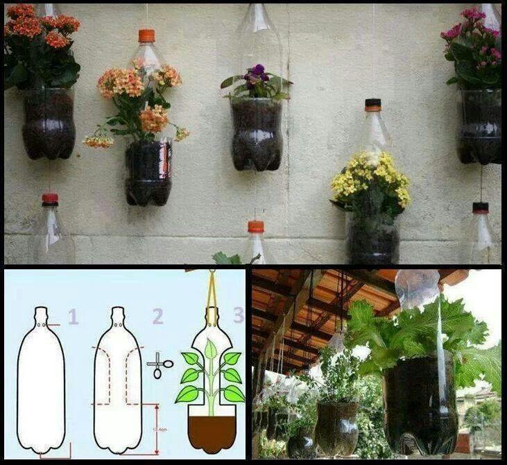 DIY #Reclicling plastic bottles, #plants #garden. Reutilizacion de botellas de plastico, jardineras para plantas.