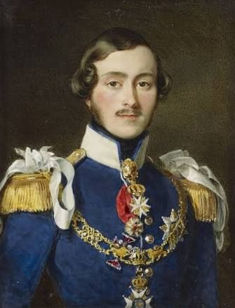 Ernst II, Duke of Saxe-Coburg-Gotha (1818-1893) when Hereditary Prince of Saxe-Coburg-Gotha, The Hereditary Prince is shown wearing wearing German general officer's uniform with the collar of the Saxe-Coburg House Order, the neck badge of the Order of Malta and the collar, star and badge of the Order of Saxe-Ernest. #OrderofMalta #SMOM