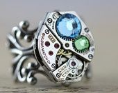 Steampunk Ring - READY TO SHIP Steam Punk Jewelry Aquamarine Blue Peridot Green March August Swarovski  - Handmade by Inspired by Elizabeth