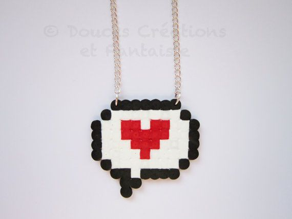 Bubble necklace and red heart, kawaii, geek, cartoon, hama beads, silver, adolescent female child, hand-made