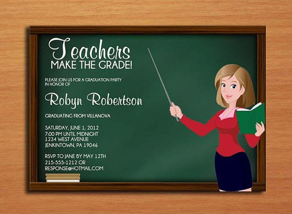 Teacher / Education Degree Graduation Party Invitation ...