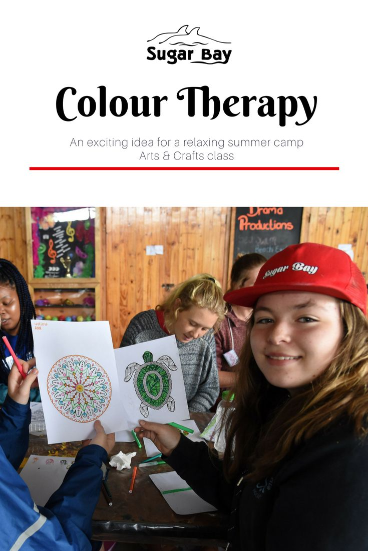 Colour therapy is a great way to keep campers occupied and make use of colour to decorate, beautiful, intricate designs.   Step 1:  Print out beautiful, intricate colouring pages which you can source from free sites on the net.   Step 2:   Get a variety of colour pencils and pens and hand them out to your campers.  Step 3:  Get everyone colouring.