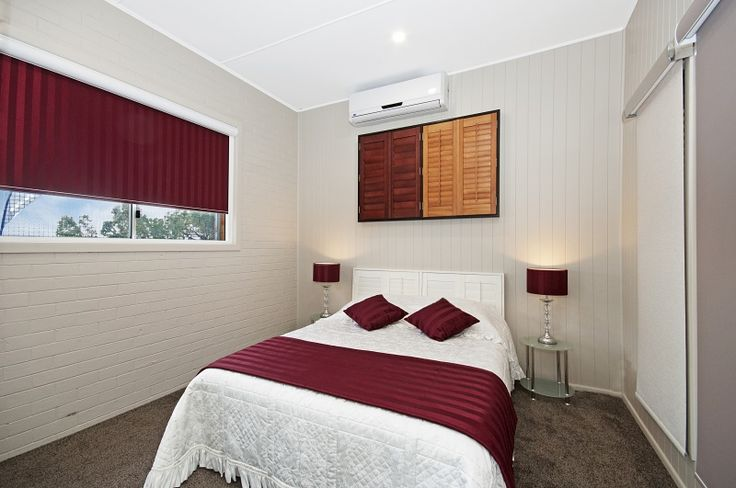 Our bedroom feature many different options for blinds and shutters that you can include in your own home!
