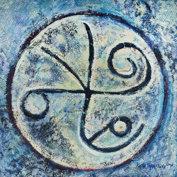 Símbolo de la orenda de energía cósmica - Karma sanación Original pintura al…