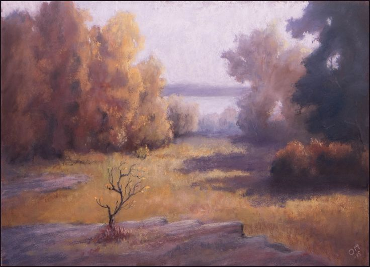 Across the meadow and into the trees, by Olli Malmivaara, Soft pastel 21 x 29 cm