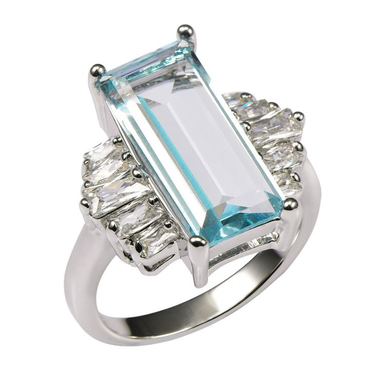 Huge Aquamarine With Multi White Simulated Sapphire 925 Sterling Silver Ring For Women Size 6 7 8 9 10 11 F1468