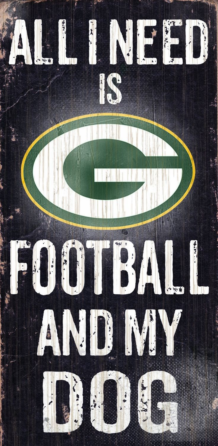 Green Bay Packers Wood Sign – Football and Dog 6″x12″