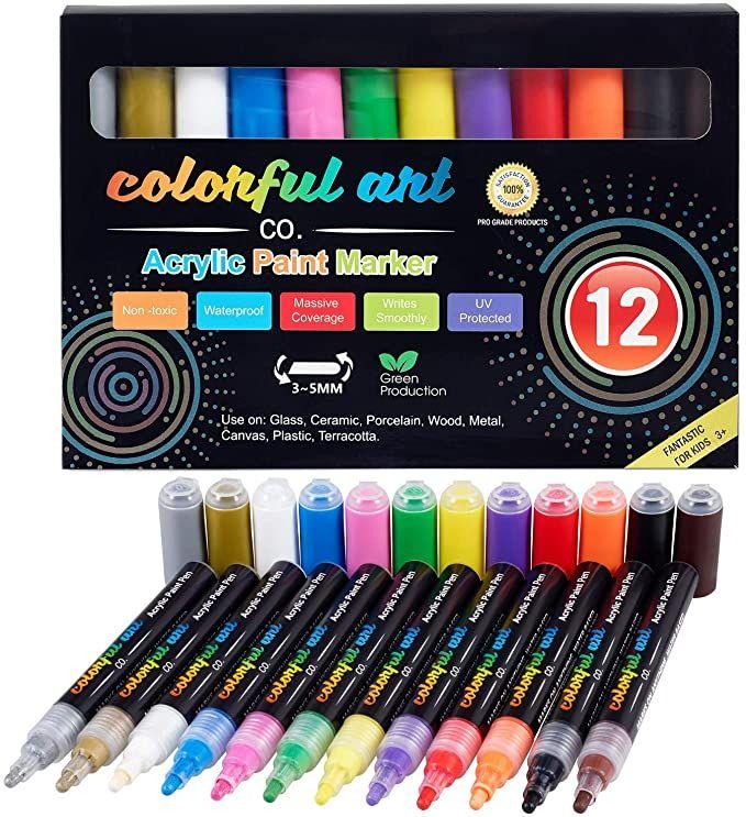 12Farben Acrylstifte Marker Set Permanent Painter Wasserfest Pen Für Steine DE