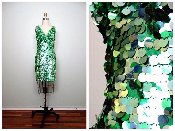 Kelly Green Sequin Party Dress / Green Cocktail Dress / Pailette Sequined Dress