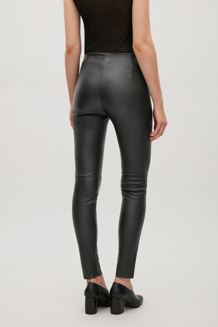 COS image 3 of Slim-fit leather trousers in Black