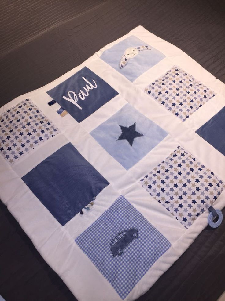 Little Dutch Activity Krabbeldecke Hase 85/100 mixed stars blue personalisierbar mit Namen