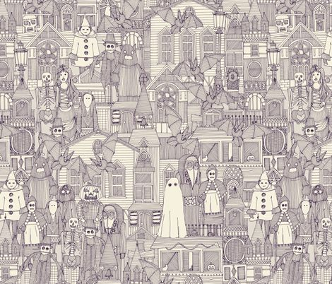 vintage halloween purple ivory fabric by scrummy on Spoonflower (available in different colours too) - custom fabric @spoonflower #halloween #scary #vintage #ghost #scarecrow #bats #costume #architecture #purple #skull #snake #skeleton #fabric #wallpaper #sharonturner #scrummy
