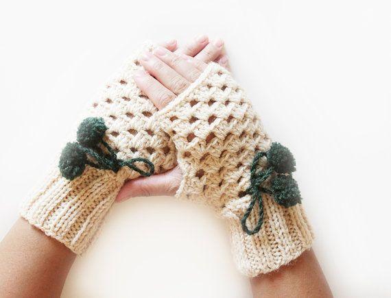 Beige Crochet gloves, Fingerless wrist warmers, Fingerless mittens for women, Crochet mittens