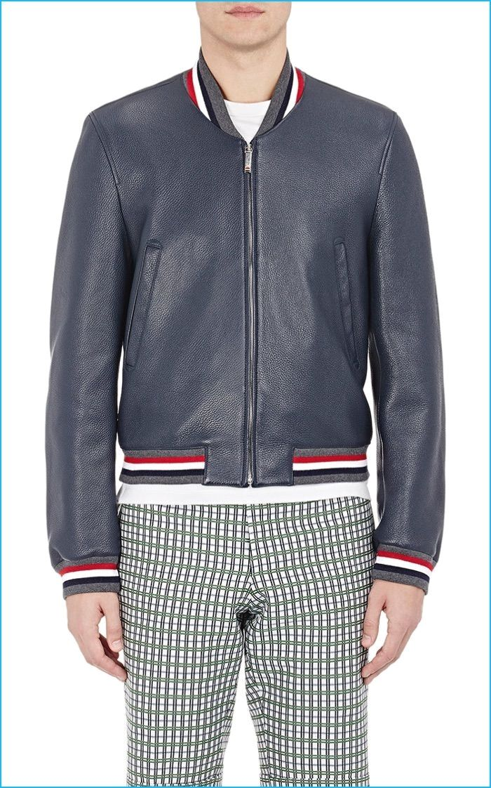 Thom Browne Navy Leather Varsity Jacket