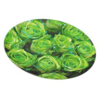 Romantic Love Green Valentine Glitter Roses Plates