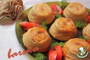 Тимбаль (чики) - кексики из спагетти с начинкой из индюшиного фарша, залитого овощным соусом