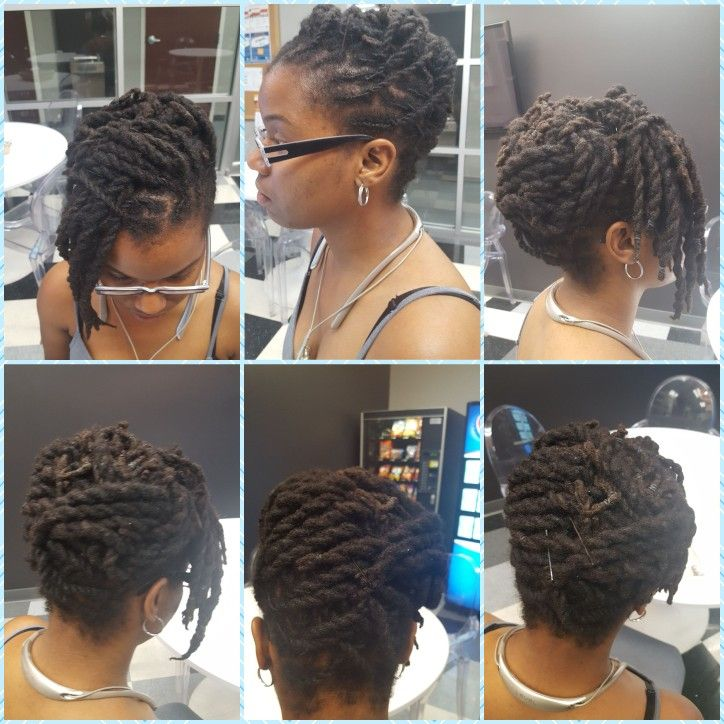 Updo with double strand twist (roping technique)