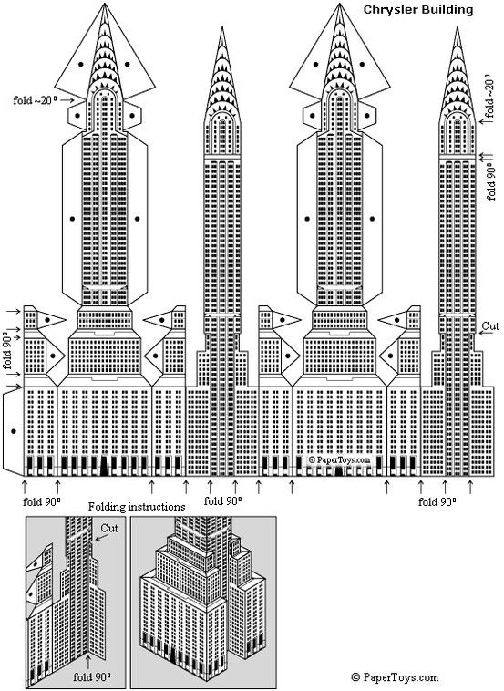 Chrysler building paper model free paper toys and models for Model house nyc