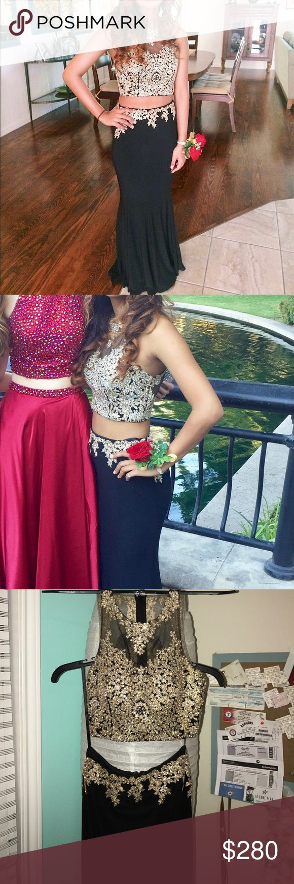 Black and gold two piece prom dress Anny Lee prom dress! XS (I usually wear a small) In perfect condition! Worn once! Anny Lee Dresses Prom