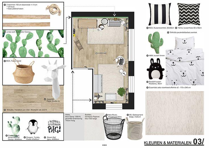 Babykamer_ Cactusjes_ Kleuren en materialen_ Woonmakers online interieuradvies