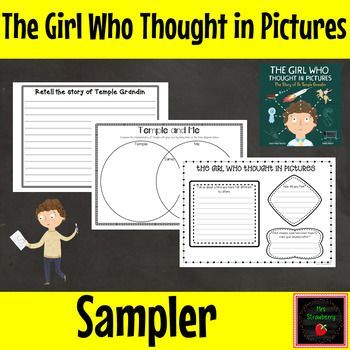 "3rd, 4th, 5th & 6th graders will love this FREE sample of my ""The Girl Who Thought In Pictures"" printable package to accompany the book by Julia Finley Mosca! This inspirational story is about Dr. Temple Grandin who was diagnosed with Autism as a child. Included are 3 print & go worksheets. These activities are great in a classroom or home school.  {third, fourth, fifth, sixth, grade, freebie, sampler, ELA, English language arts, science, homeschool, homeschooling, special needs}"