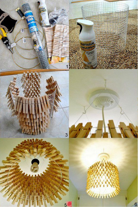DIY clothes pin lampshade HUMM using the wire form one could connect fabric,decoupage paper or fabric, this is a must try asap!!! thanks to whomever came up with this idea.