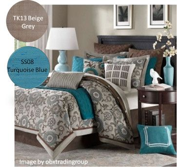 Gray with turquoise and brown accents. Minus the patterned comforter!
