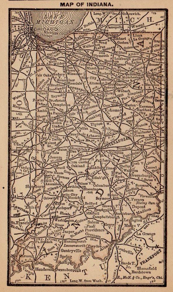 RARE Antique INDIANA Map Original 1888 MINIATURE Map Gallery Wall