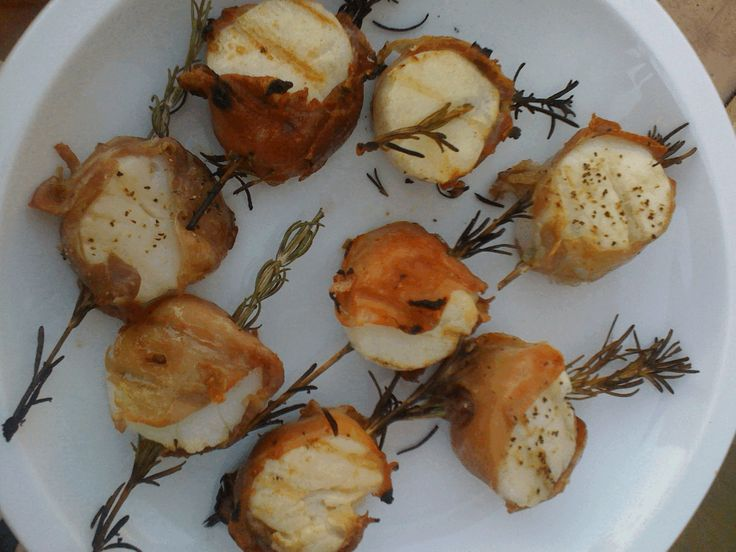 Rosemary and Prosciutto-Wrapped Scallops on the Grill