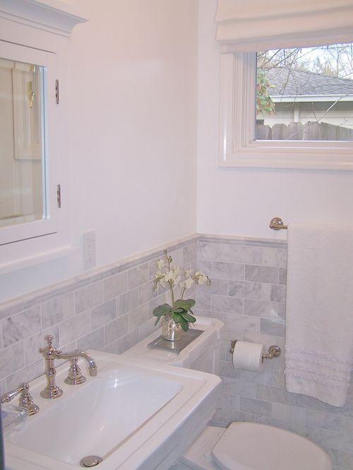 Hang shade above window and add trim molding to make window look bigger.: Kitchens Window, Marbles Subway Tile, Carrara Marbles, Small Bathroom, Half Bath, High Window, Beautiful Bathroom, Bathroom Ideas, Bathroom Reno