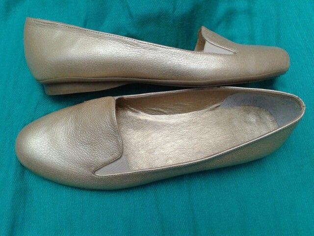Zapatos en cuero Dorado ♥