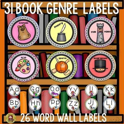 TeachToTell  from  WORD WALL LABELS: BOOK GENRE LABELS (57 LABELS) on TeachersNotebook.com -  (33 pages) - Organization is the key! Use these 26 labels to organize your word wall and 31 genre labels to organize your book shelves. That's 57 labels in all!