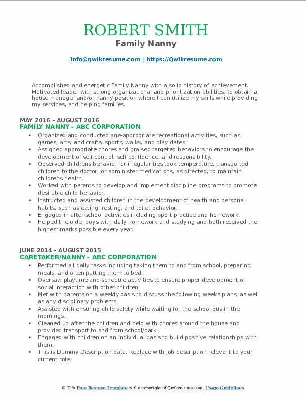 Nanny Resume Experience Examples In 2021 Sales Resume Examples Business Analyst Resume Resume Examples