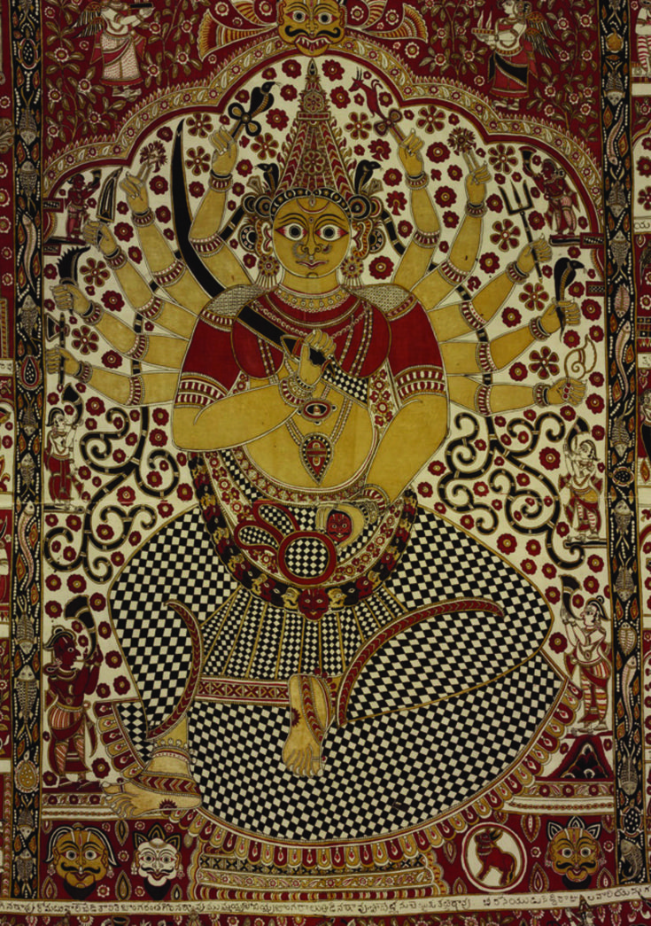 Kalamkari Temple Hangings   by Anna L. Dallapiccola and Rosemary Crill.  A presentation of V & A Museum's collection of Kalamkari paintings. The above image is from p.74 (probably of Devi.)