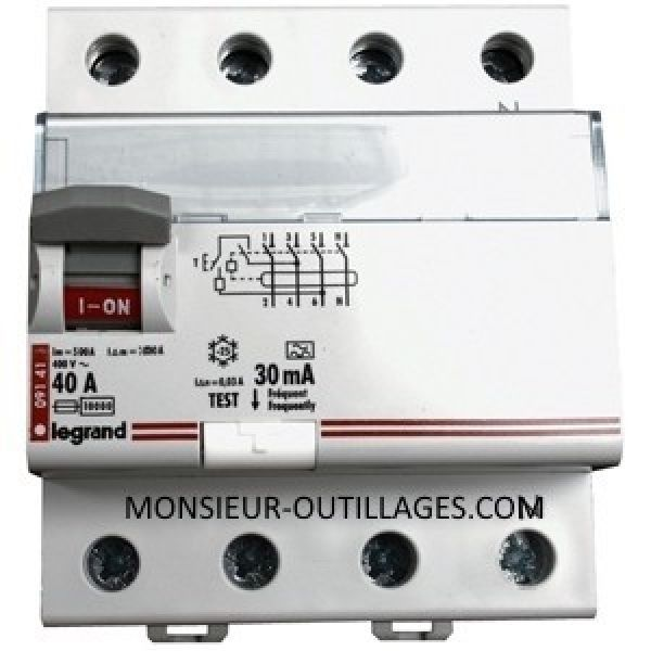 Disjoncteur Interrupteur différentiel tétra LEGRAND 4 poles 40A 400V 30mA
