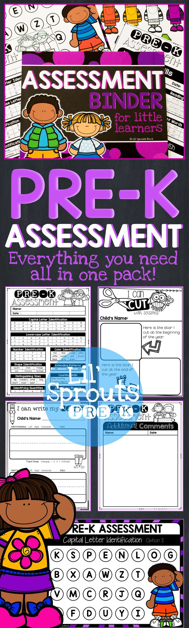 This Pre-K Assessment Pack includes everything you need to assess your students, with so many printables to choose from!! Perfect for back to school! I recently updated this pack and now you can add your own comments, change the titles on the forms, and add in your own assessment data.